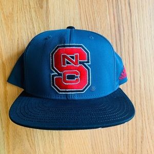 Gray Red and Black Adidas NC State Cap